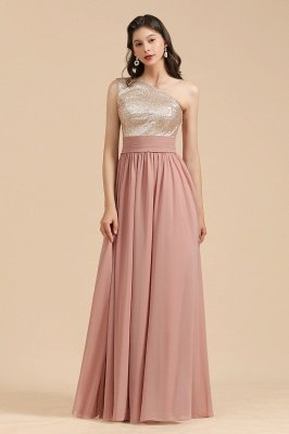 Stylish One Shoulder Glitter Sequins Aline Chiffon Evening Prom Dress