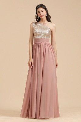 Stilvolles One Shoulder Glitter Pailletten Aline Chiffon Abend Abendkleid