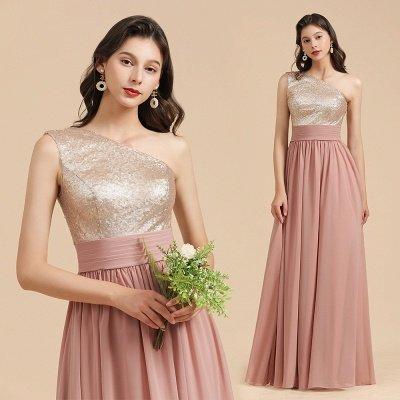 Стильное шифоновое вечернее платье на одно плечо с блестками и пайетками Aline_10