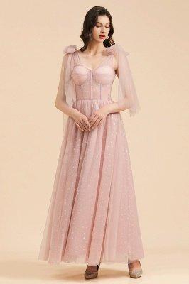Superbe robe de soirée à manches bouffantes scintillante Aline robe de soirée en mousseline de soie longueur de plancher robe de bal_5