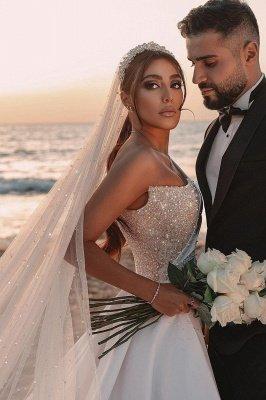 Robe de mariée sirène sexy à une épaule à volants en satin scintillant Seqiuns avec train de balayage_10