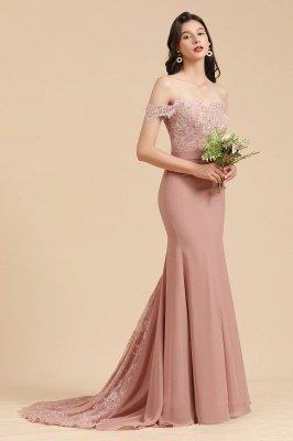 Apliques de renda floral fora do ombro vestido sereia vestido de noite vestido de dama de honra_4