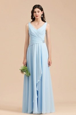 Sky Blue V-Neck Sleevels Ruffle Chiffon Aline Bridesmaid Dress