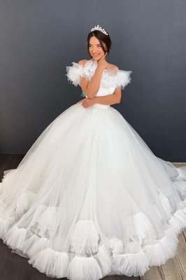 White/Ivory Off the Shoulder Puffy Tulle Lace Ball Gown Princess Bridal Gown