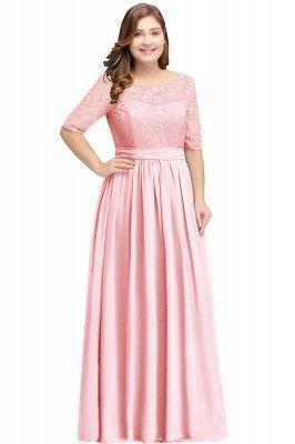 AUBRIELLE | Vestido de fiesta elegante de una línea de gasa Scoop con encaje_2