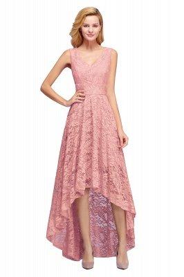 Vestidos de encaje de color borgoña sin mangas con cuello en V de una línea_1