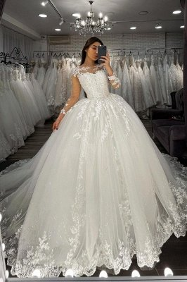 Long Sleeves Lace Appliques Tulle Wedding Gown White Garden Aline Spring Bridal Gown