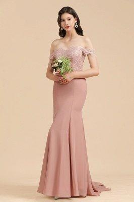 Apliques de renda floral fora do ombro vestido sereia vestido de noite vestido de dama de honra_5
