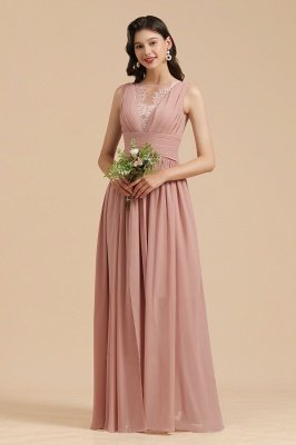Elegant Sleevele Dusty Pink Chiffon Bridesmaid Dress Ruffle Beach Wedding Dress