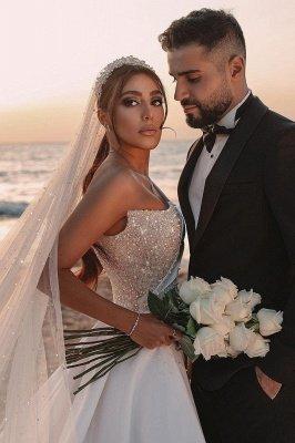 Robe de mariée sirène sexy à une épaule à volants en satin scintillant Seqiuns avec train de balayage_7