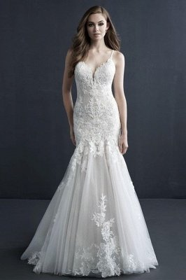 Elegant Sleeveless White Lace Mermaid Wedding Gown Sweetheart Tulle Appliques Bridal Dress