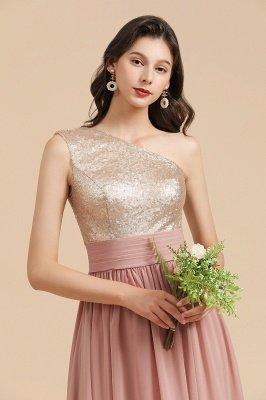 Стильное шифоновое вечернее платье на одно плечо с блестками и пайетками Aline_9