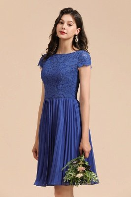 Stylish Floral lace Appliques Mini Dress Royal Blue Short Sleeves Knee Length Daily Casual Dress