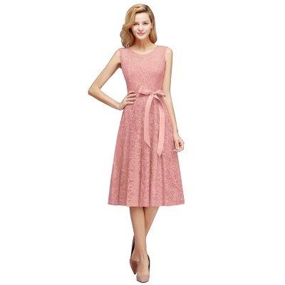 A-line без рукавов Бургунские кружевные платья с луком_1