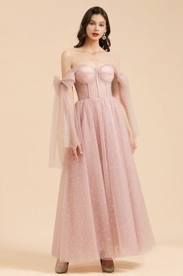 Superbe robe de soirée à manches bouffantes scintillante Aline robe de soirée en mousseline de soie longueur de plancher robe de bal_3