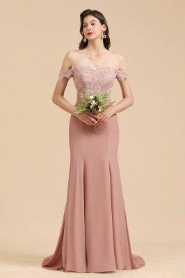 Apliques de renda floral fora do ombro vestido sereia vestido de noite vestido de dama de honra_6