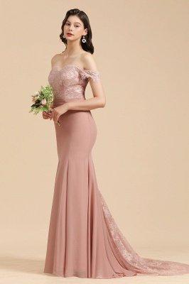Apliques de renda floral fora do ombro vestido sereia vestido de noite vestido de dama de honra_7