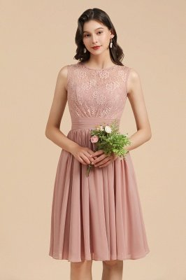 Elegant Sleeveless Crew Neck Lace Homecoming Dress Short Cocktail Party Dress