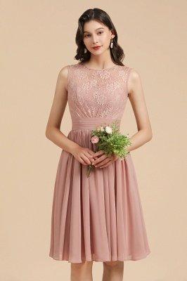 Elegante vestido de fiesta de encaje con cuello redondo sin mangas Vestido de cóctel corto