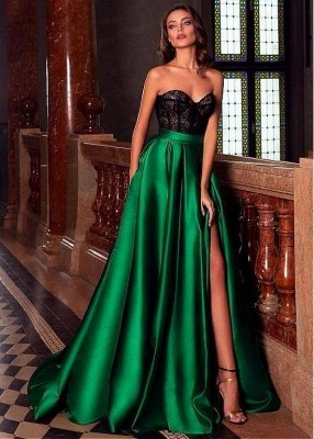Sweetheart Sleeveless Satin Floor length Evening Gown Side Slit_1