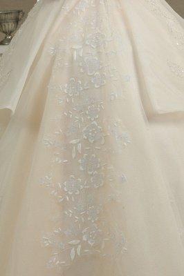 Elegantes schulterfreies Tüll-Spitzen-Ballkleid mit bodenlangem Graden-Brautkleid_3