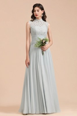 High Neck Floral Lace Aline Brautjungfernkleid Bodenlanges Chiffon-Hochzeitskleid