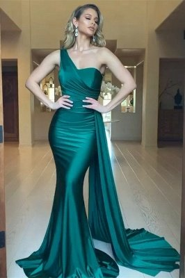 Charming One Shoulder Satin Slim Mermaid Evening Gown