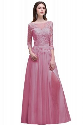 AUBREY | A-line Scoop Champagne Prom Dress With Sleeve_1