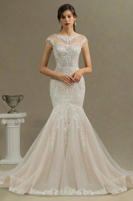 Charming Mermaid Wedding Gown Lace Appliques Cap Sleeve Garden Wedding Dress