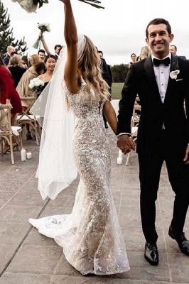 Элегантное свадебное платье русалки с v-образным вырезом на тонких бретельках, кружевное платье с цветочным рисунком для невесты_4