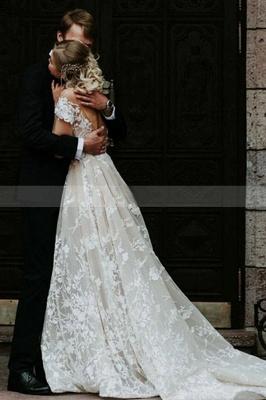Очаровательное свадебное платье с открытыми плечами и цветочным кружевом, белое свадебное платье принцессы Aline_2