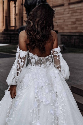 Sexy Sweetheart Sleeveless Wedding Dress White 3D Floral Lace Bridal Gown_6