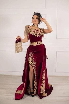 Ärmelloses Samt-Burgunder-Meerjungfrau-Abendkleid Quaste Goldapplikationen Abendkleid mit seitlichem Spalt