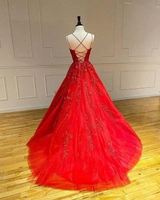 Vestido de noite Aline com alças de espaguete floral vestido de noite vestido de baile sem mangas_2