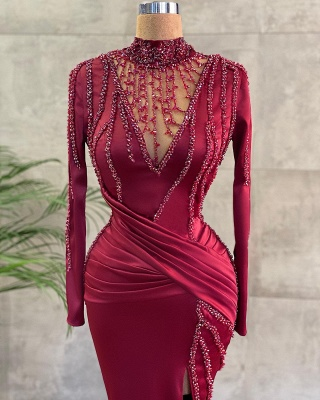 High Neck Long Sleeves Mermaid Evenign Dress with Side Slit_2