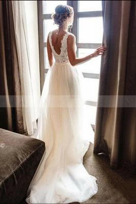 White/Ivory V-Neck Lace Tulle Bridal Dress Aline Beach Wedding Dress_2