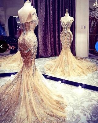 Charming Off the Shoulder Crystals Meerjungfrau Abendkleid Glitter Pailletten Partykleid