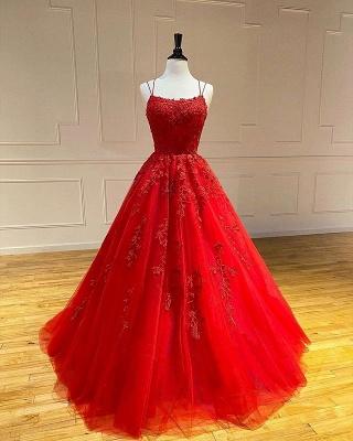 Vestido de noite Aline com alças de espaguete floral vestido de noite vestido de baile sem mangas_3