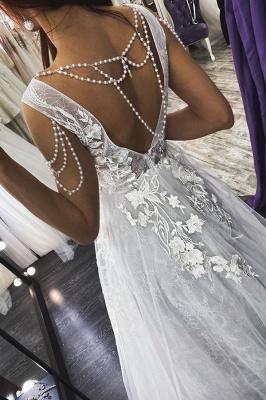 Robe de mariée sexy sans manches à col en V Aline Robe de mariée en dentelle florale_2