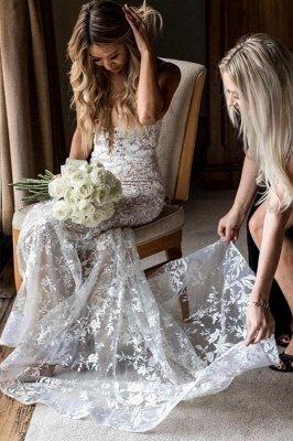 Elegante Spaghettiträger mit V-Ausschnitt, Meerjungfrau-Brautkleid, Blumen-Spitzenkleid für die Braut_5