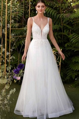 Romantic Aline Wedding Dress White Double V-Neck Tulle Simple Dress for Bride