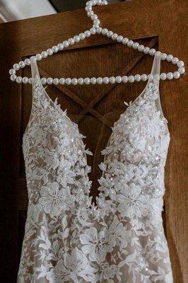Elegante Spaghettiträger mit V-Ausschnitt, Meerjungfrau-Brautkleid, Blumen-Spitzenkleid für die Braut_7