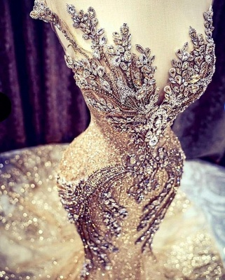 Charming Off the Shoulder Crystals Mermaid Evening Gown Glitter Sequins Party Dress_2