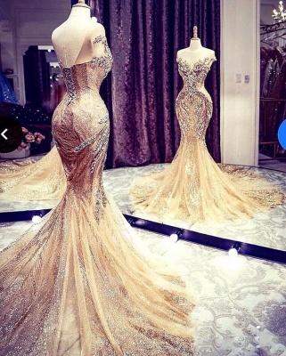 Vestido de noite encantador com cristais fora do ombro de sereia vestido de festa com lantejoulas brilhantes_5