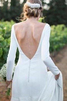 Elegantes weißes Bateau Langarm Einfaches Brautkleid_2