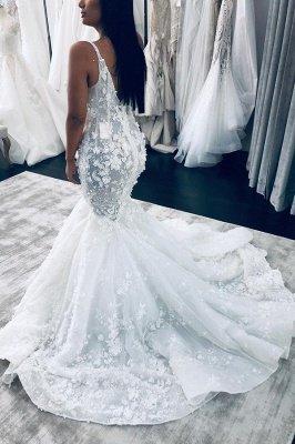 Очаровательное свадебное платье русалки без рукавов с v-образным вырезом, кружевное свадебное платье с цветочным рисунком_2