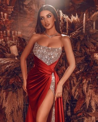 Sexy Strapless Glitter Sequins Cristals Evening Gown with Side Slit_2