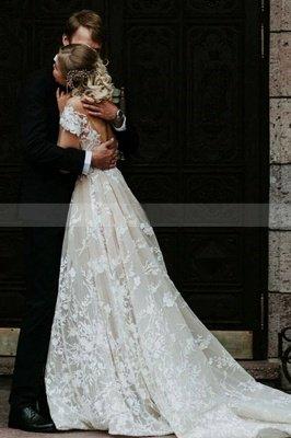 Charmante robe de mariée en dentelle florale à épaules dénudées princesse robe de mariée blanche Aline_2