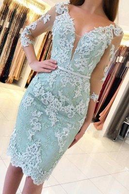 Elegant 3/4 Sleeves Lace Slim Short Party Dress_1