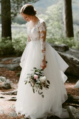 Charming White Floral Lace Wedding Dress Tulle Long Sleeve Garden Bridal Dress